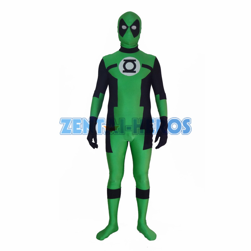 Green Lantern Deadpool Özel Superhero Kostüm Halloween Party Cosplay Seksi Kostümleri Catsuit Zentai Suit