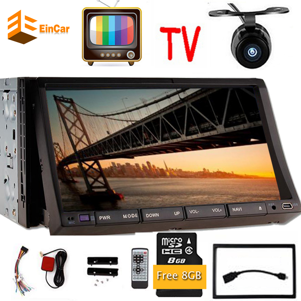 Analog TV Araç Elektronik 2din Araba DVD Oynatıcı GPS Navigasyon Analog TV 2din Araç Radyo Dash Bluetooth Stereo Video Ücretsiz 8 GB harita