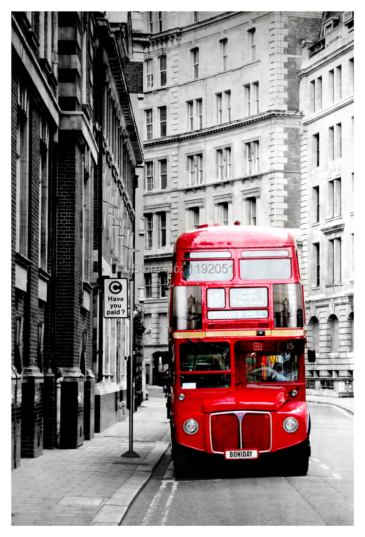 Black and white painting Photography frameless painting London red bus pictures mural painting canvas home decoration