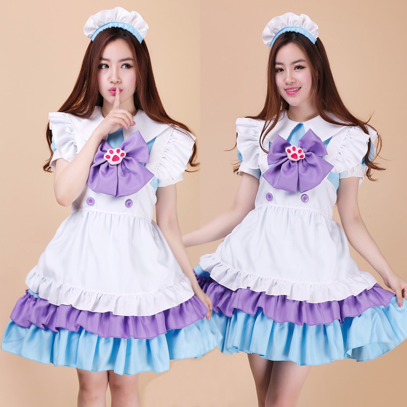 Yeni sevimli ve moda lolita dress performans ve noel için cosplay maid dress suits
