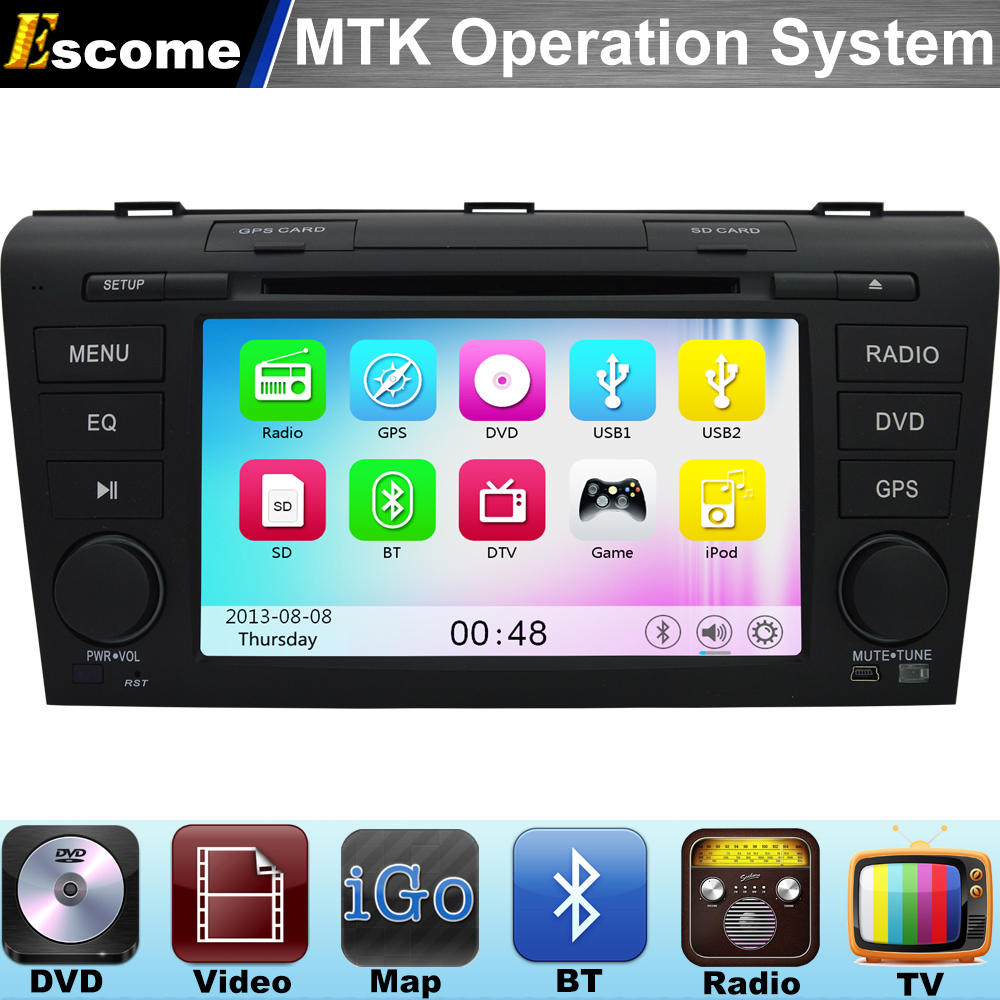 MTK3360 Car DVD Player Mazda 3 2004 2005 2006 2007 2008 2009 ile 800 mhz cpu dual core bluetooth radyo gps navigasyon